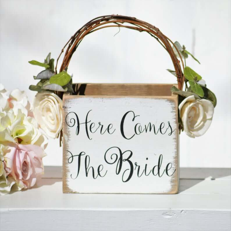 Wooden box as flower girl basket