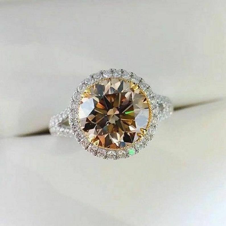 Brown diamond halo setting engagement ring