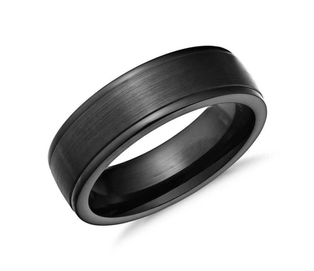 Black cobalt wedding band for men