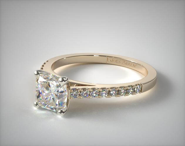 Cushion pave engagement ring