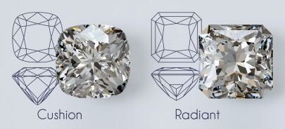 Cushion vs radiant cut diamond side by side
