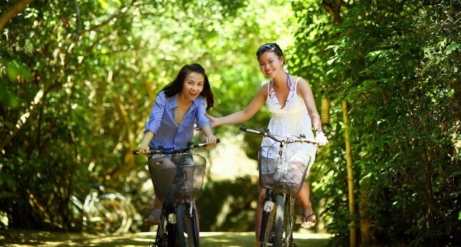 Girls cycling for bridal shower