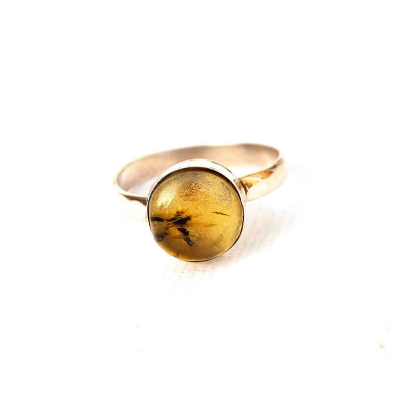 Dominican amber engagement ring closeup