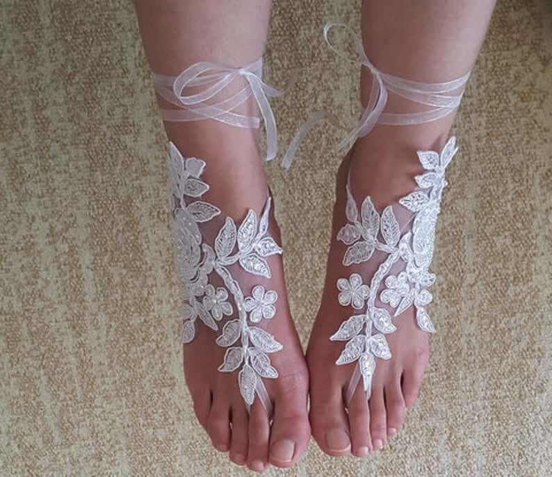 Dress and foot jewelry for bride