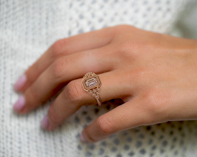 Engagement ring on wide finger