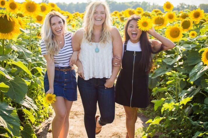 Girls at sunflower farm