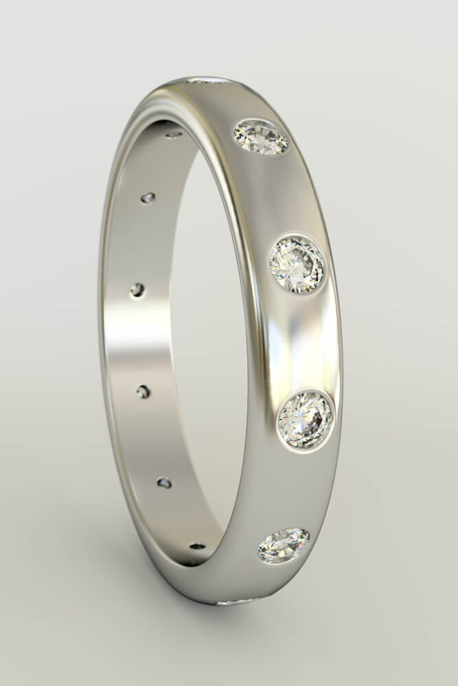 Flush setting wedding ring with white gold
