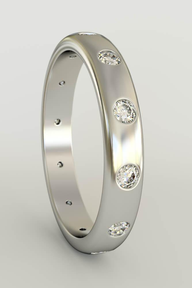 Flush setting wedding ring with white gold