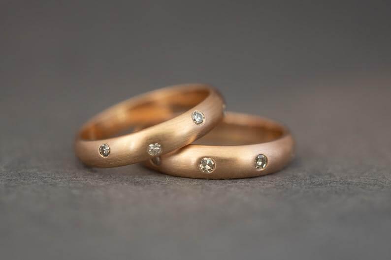 Flush setting wedding ring