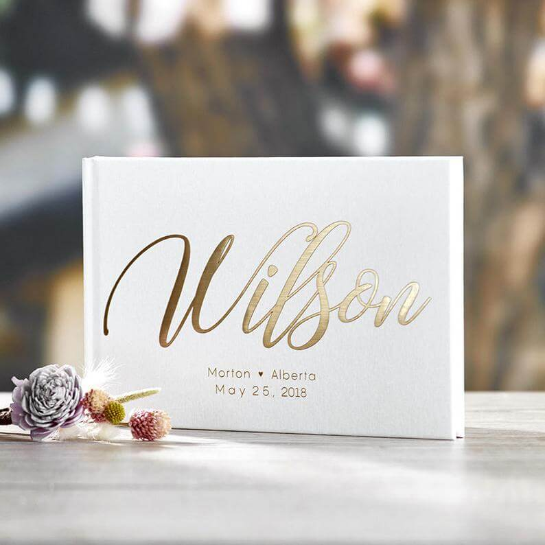 Gold letter wedding book