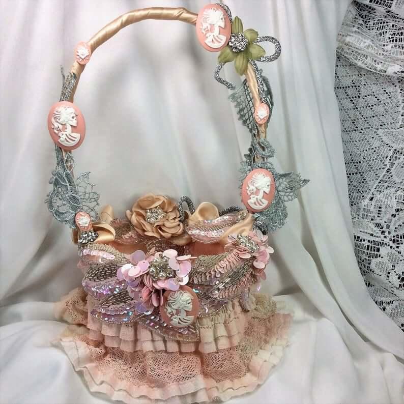 goth flower girl basket