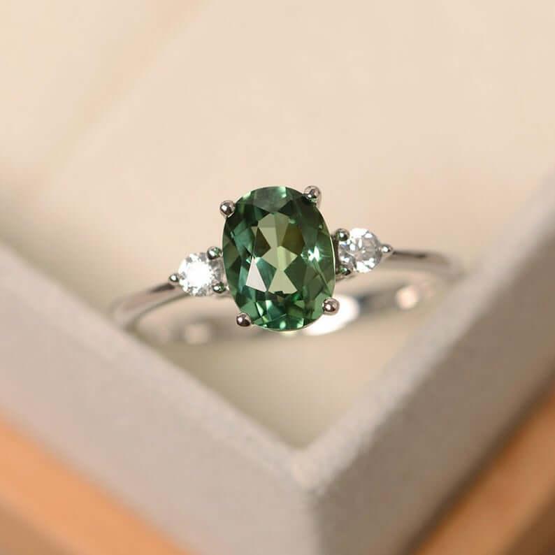 Green sapphire engagement ring white metal