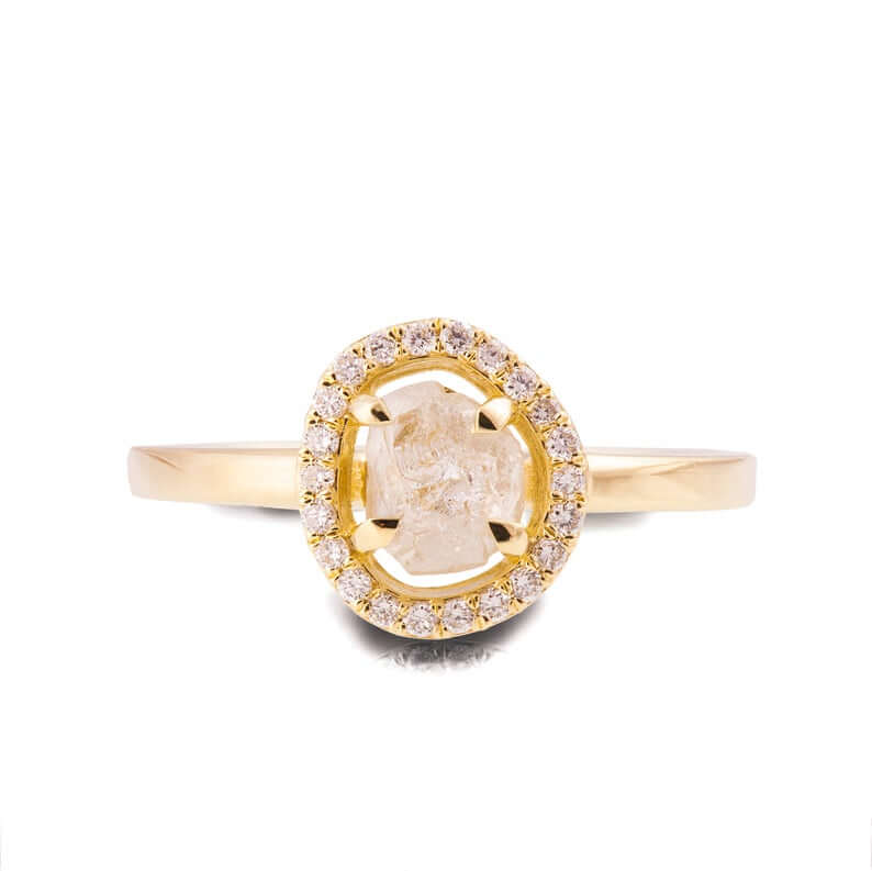 Halo raw diamond ring