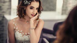 Bride wearing illusion dress