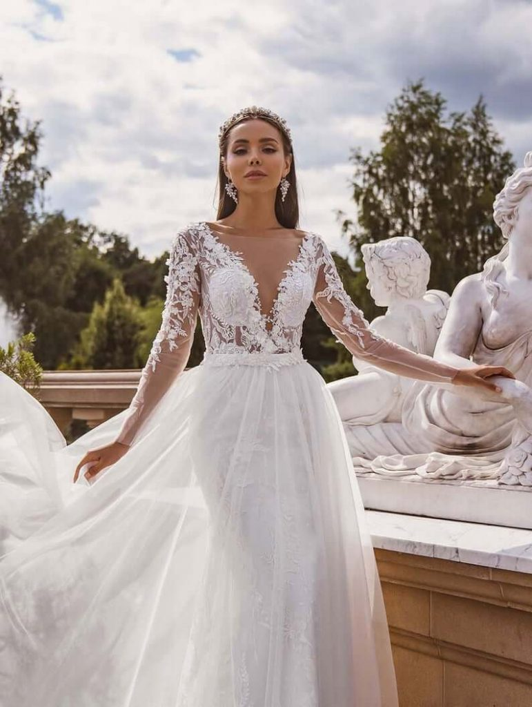 Unique illusion wedding dress