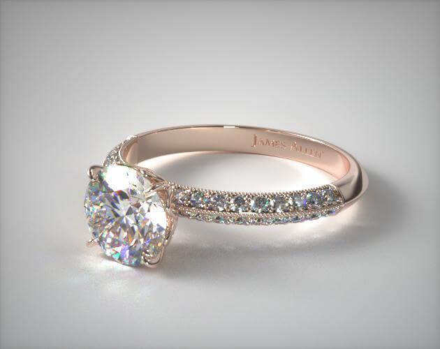 Knife edge pave engagement ring