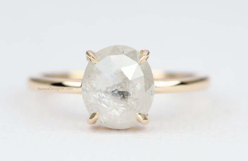Milky salt-and-pepper diamond engagement ring