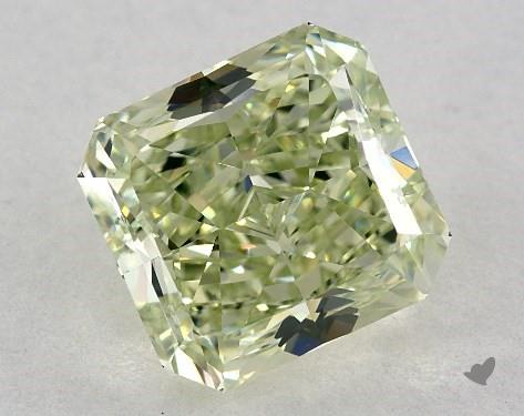 Radiant-cut green diamond closeup isolated