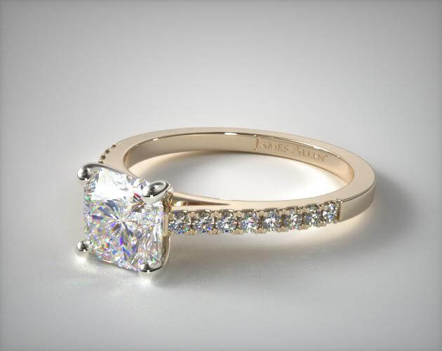 Radiant pave engagement ring yellow gold