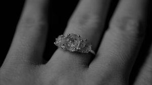 Raw diamond engagement ring