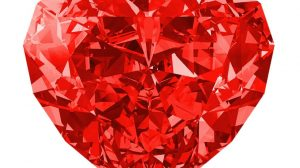 Heart shape red diamond for engagement ring