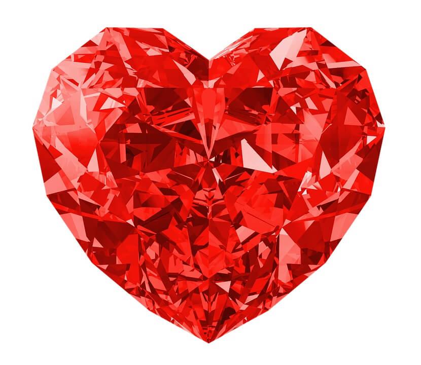 Heart shape red diamond for engagement ring