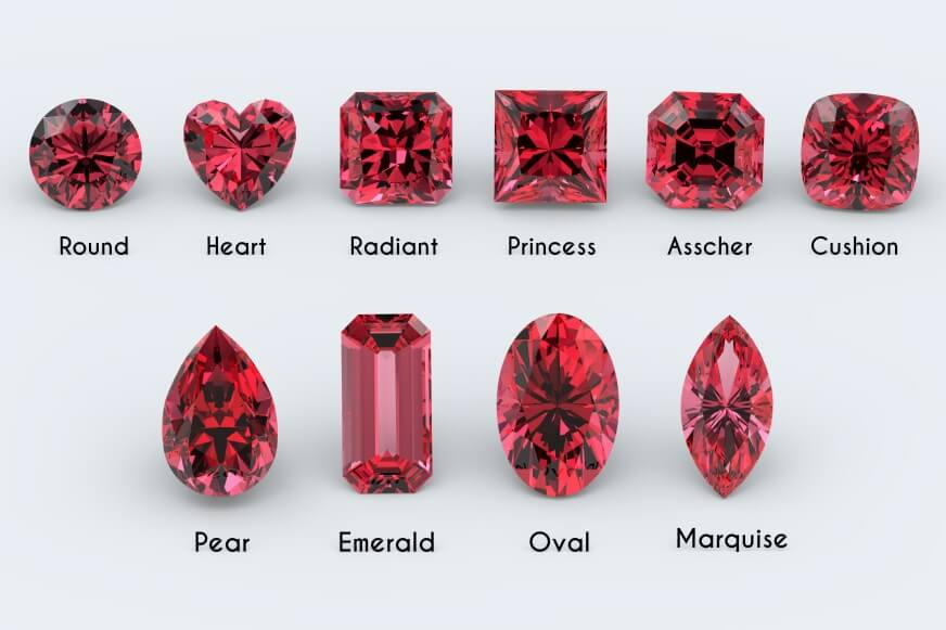 Different red diamond cuts