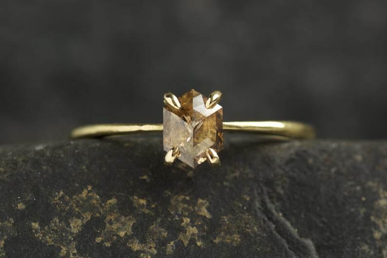 Rustic brown diamond engagement ring