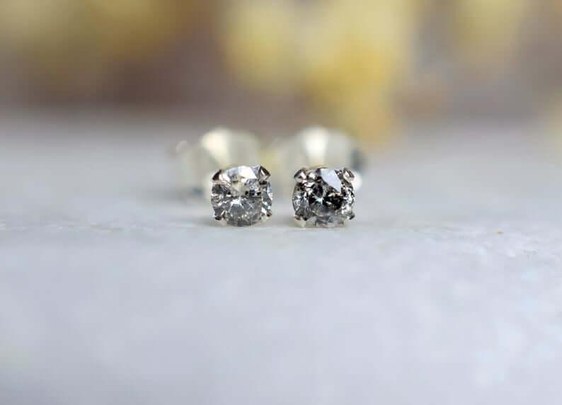 Salt and pepper diamond studs
