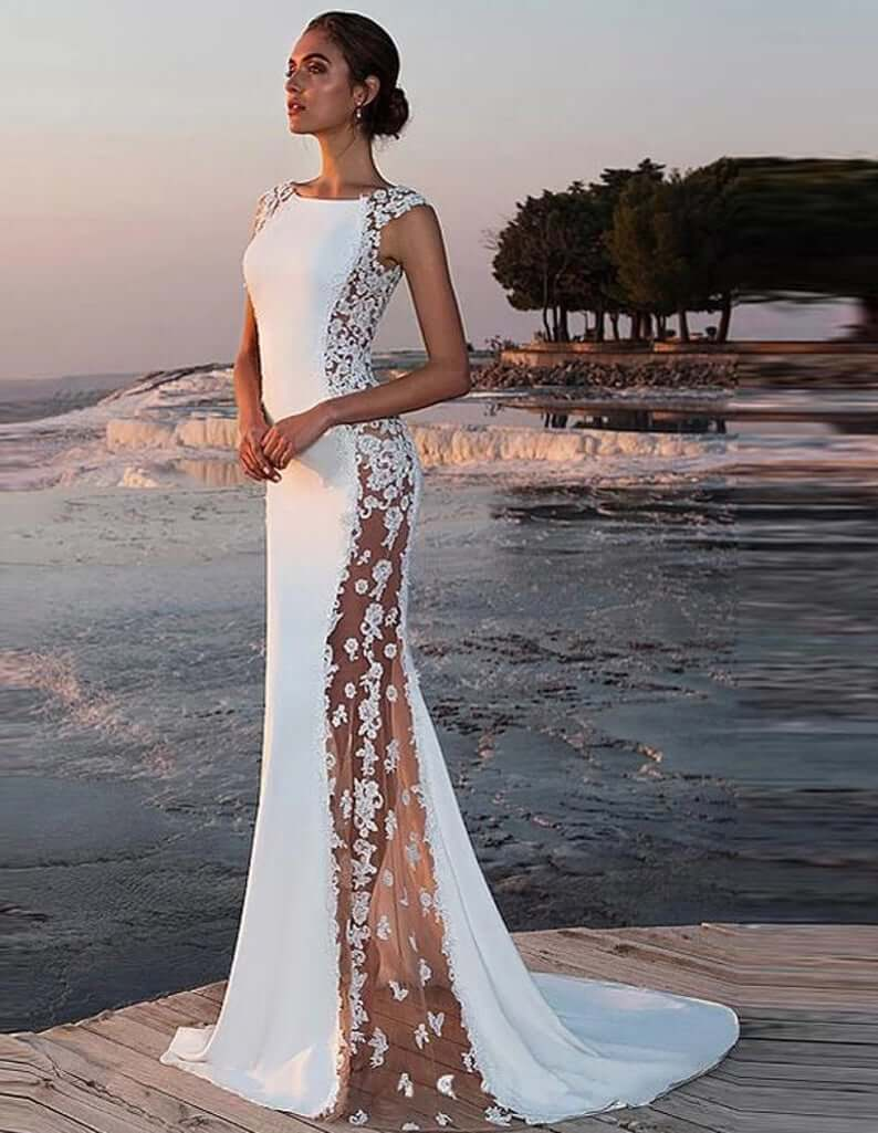 Side detail wedding dress