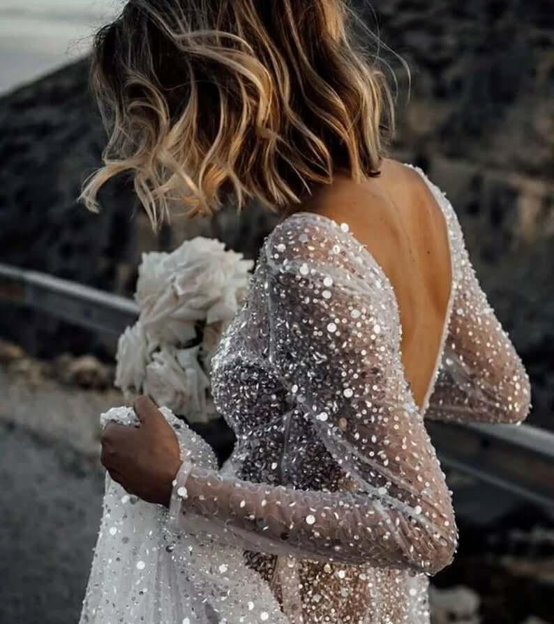 Sparkle illusion wedding dress