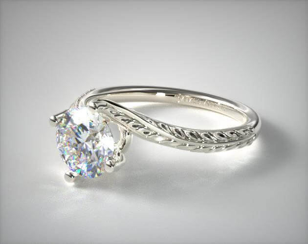 Round shape swirling bypass engagement ring