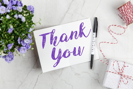 Thank you note for wedding gifts