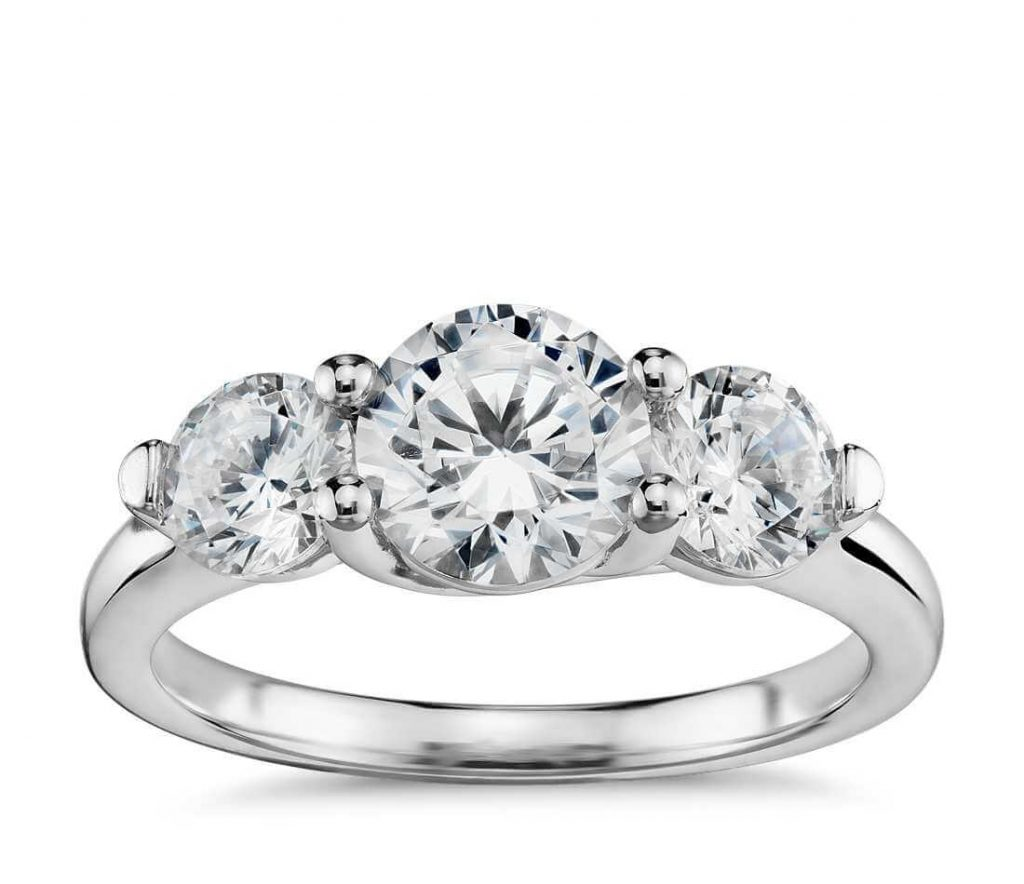 Three stone ring setting engagement ring