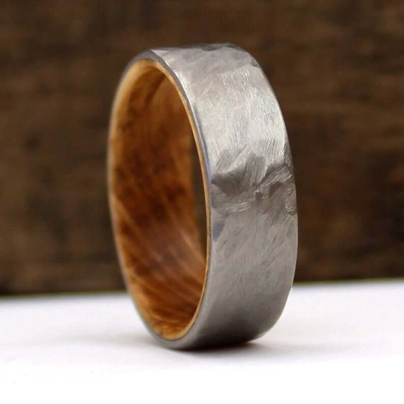 Titanium men wedding ring closeup