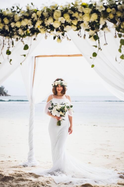 Bride wearing tulle boho dress