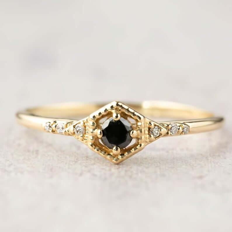 Vintage black diamond engagement ring