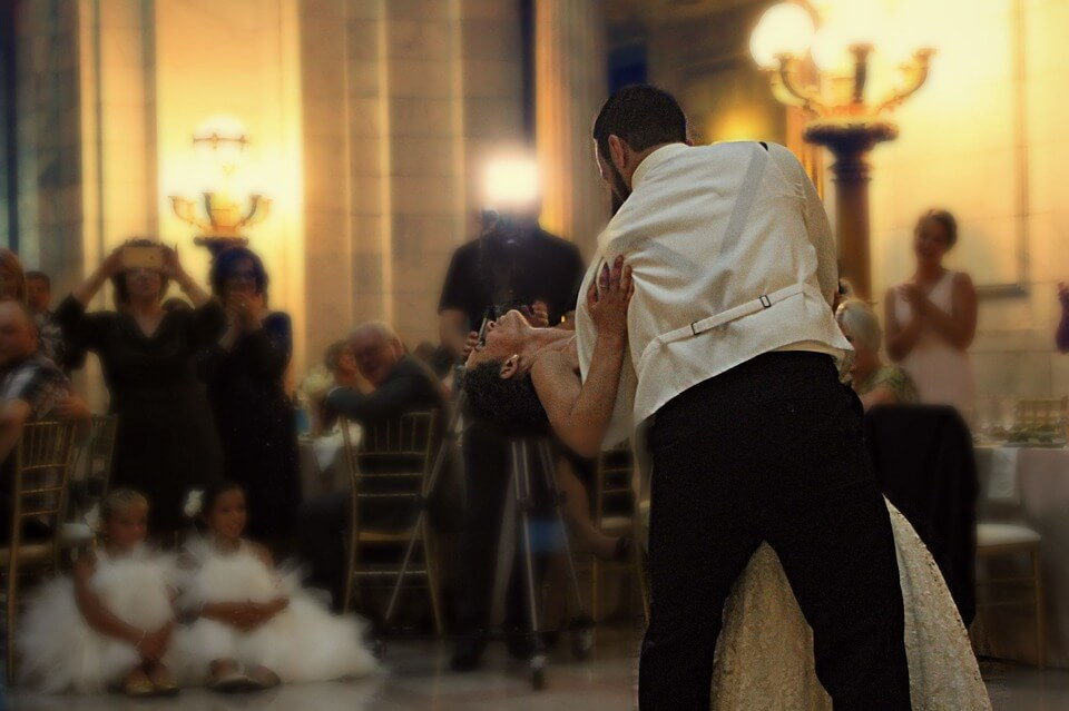 Couple dancing at their wedding