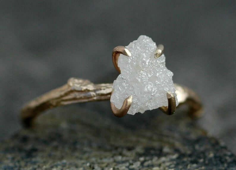 White rough diamond ring