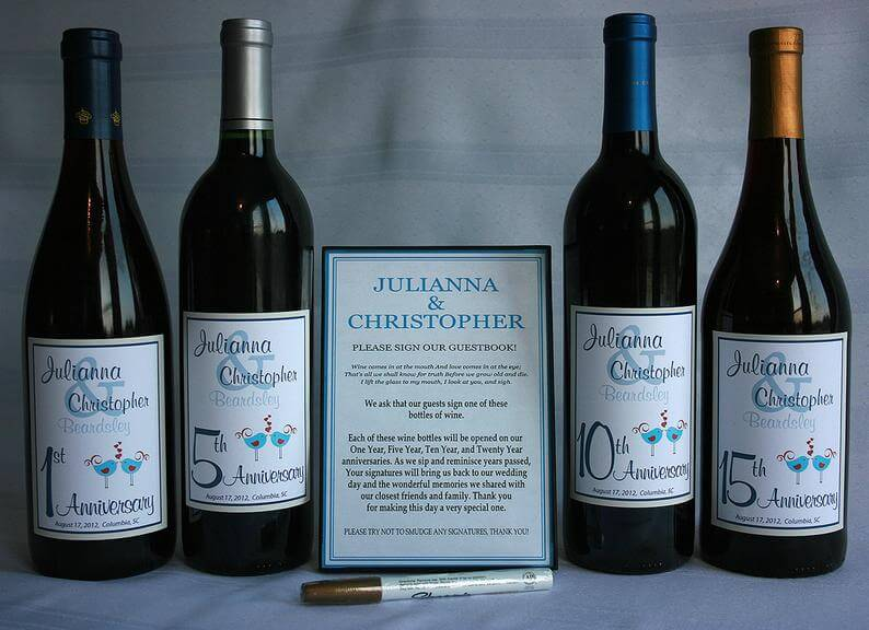 wine bottle wedding guestbook