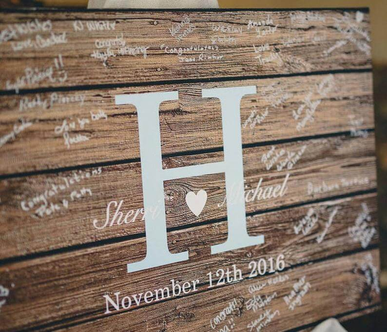 Wooden rustic wedding guestbook
