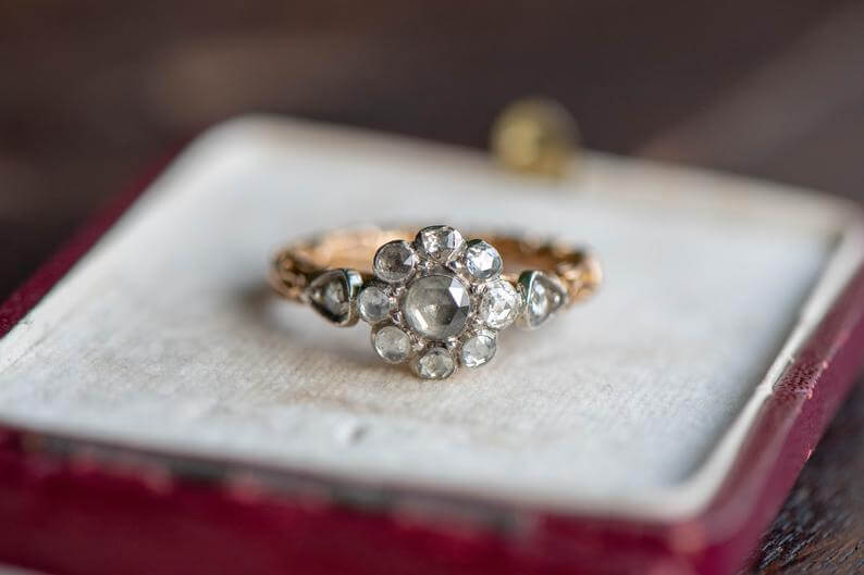 Antique ring in red box