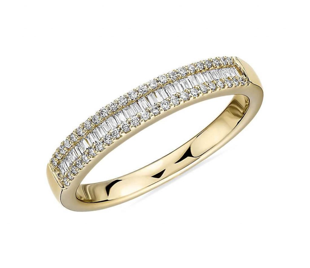 Baguette Cut & Round Pavé Diamond Channel Wedding Band in 14k Yellow Gold- I/SI2 (1/4 ct. tw.)