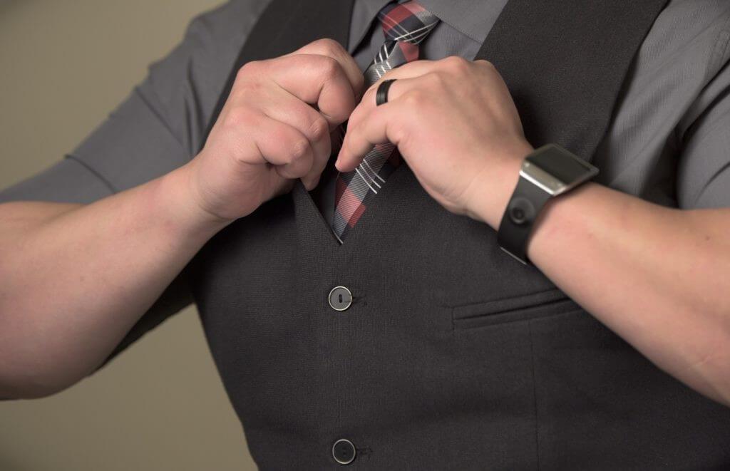 Man wearing black wedding ring