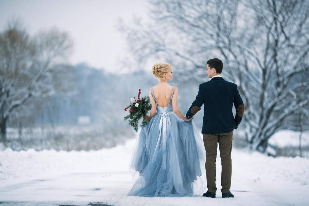 Couple at their elopement wedding