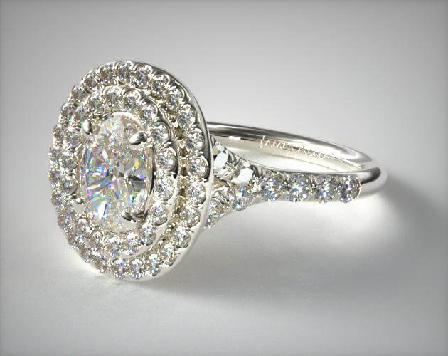 Double oval halo engagement ring