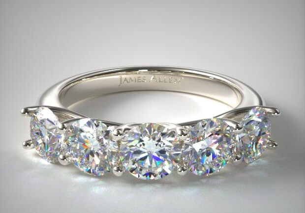 Five stone trellis ring front view