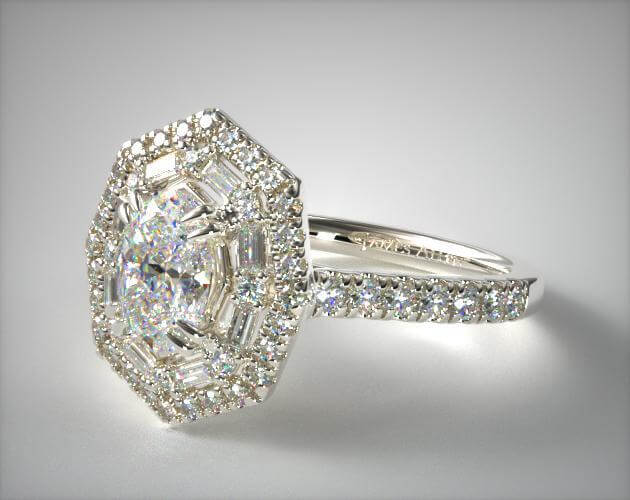Hexagon oval engagement ring