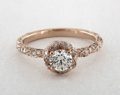I color diamond halo engagement ring