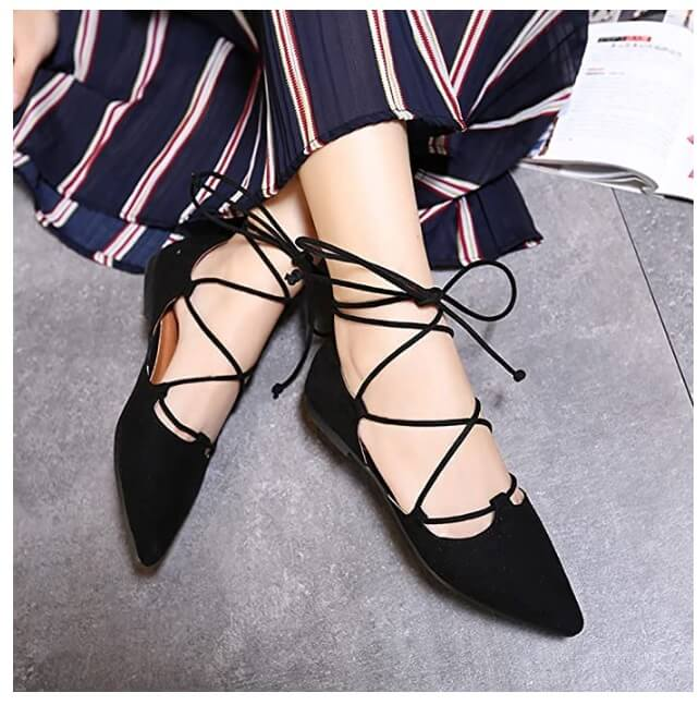 Black lace-up flats